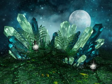 Colorful crystals and moon
