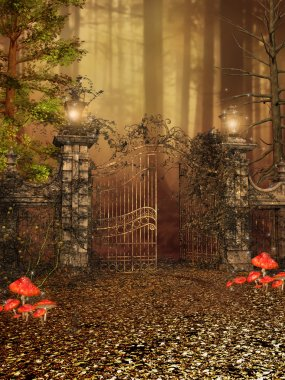 Gate to an autumn forest