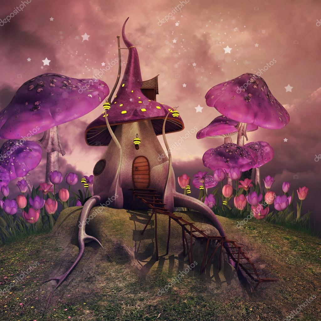 Фотообои Fantasy mushrooms on a hill