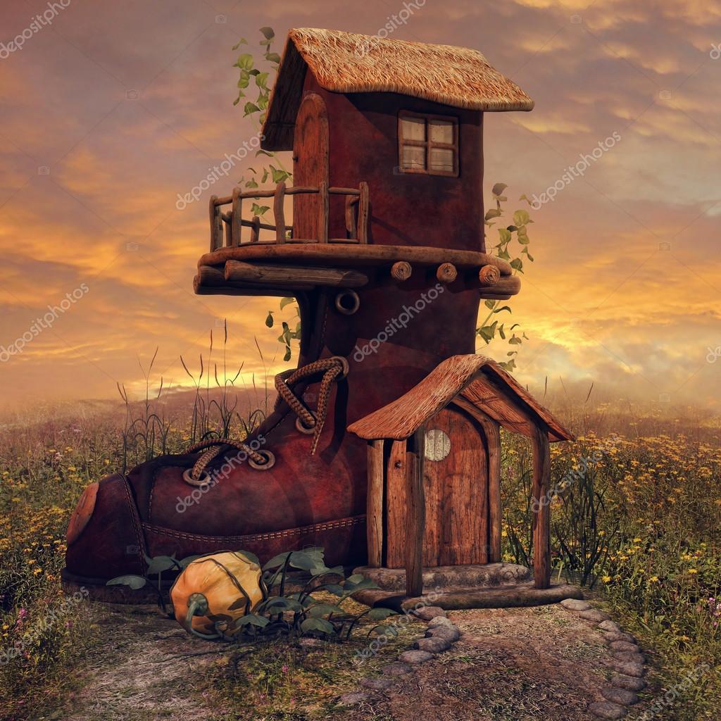 Fantasie boot cottage — Stockfoto © FairytaleDesign #69228355