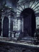 Gothic crypts at night
