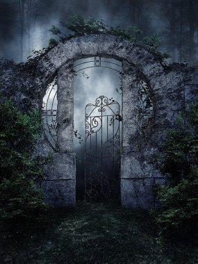 Dark garden gate