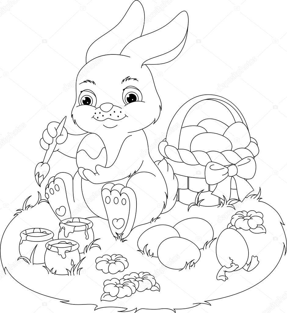 Easter Rabbit Coloring Page — Stock Vector © Malyaka #102153452