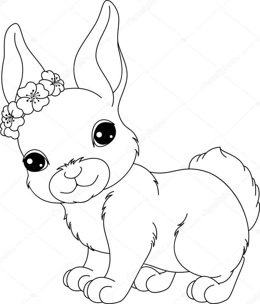 Tavşan Boyama Sayfası Stok Vektör Malyaka 102646280