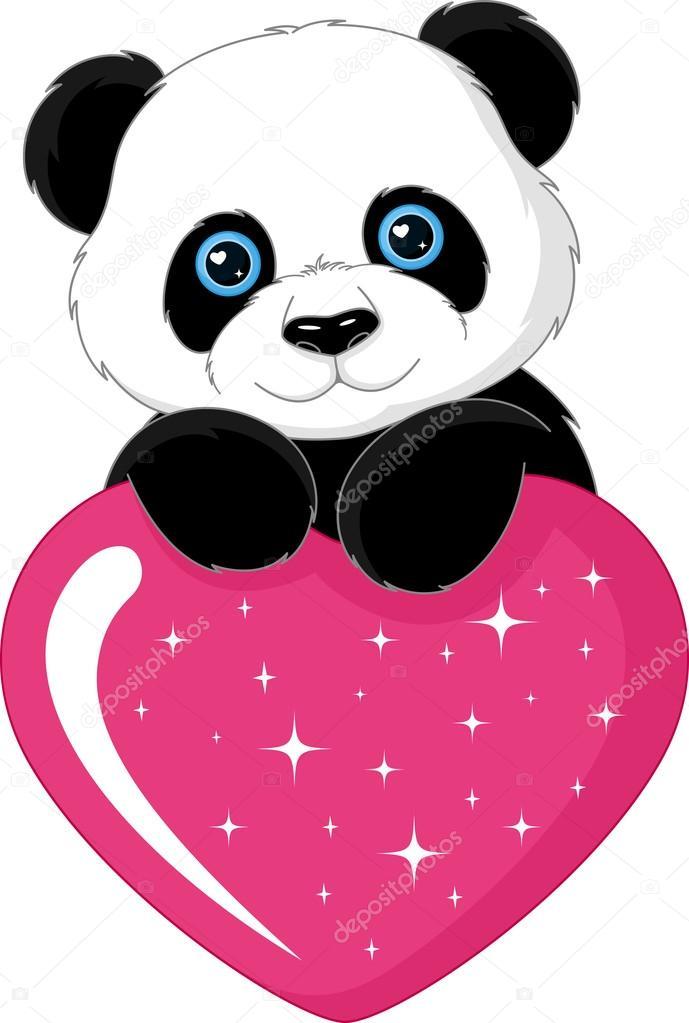 Oso Panda Con Corazon Para Colorear Panda Lindo Corazón Vector
