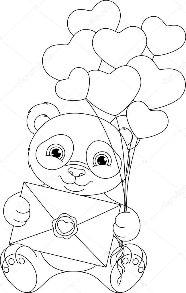 Panda Boyama Sayfası Stok Vektör Malyaka 103576178