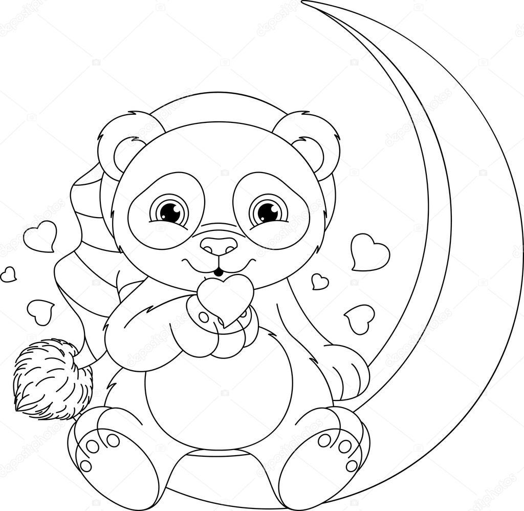 Panda Boyama Sayfası Stok Vektör Malyaka 104579968