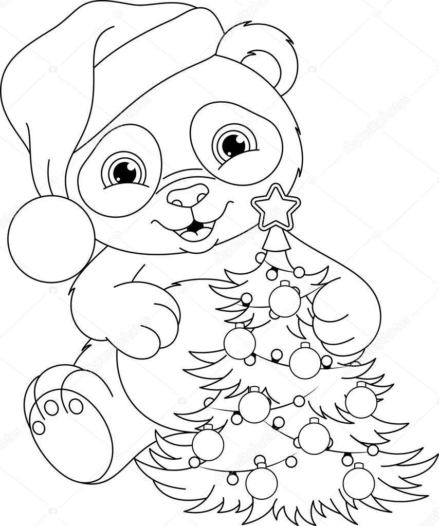 cute panda with christmas tree vector by malyaka - Panda Coloring Page