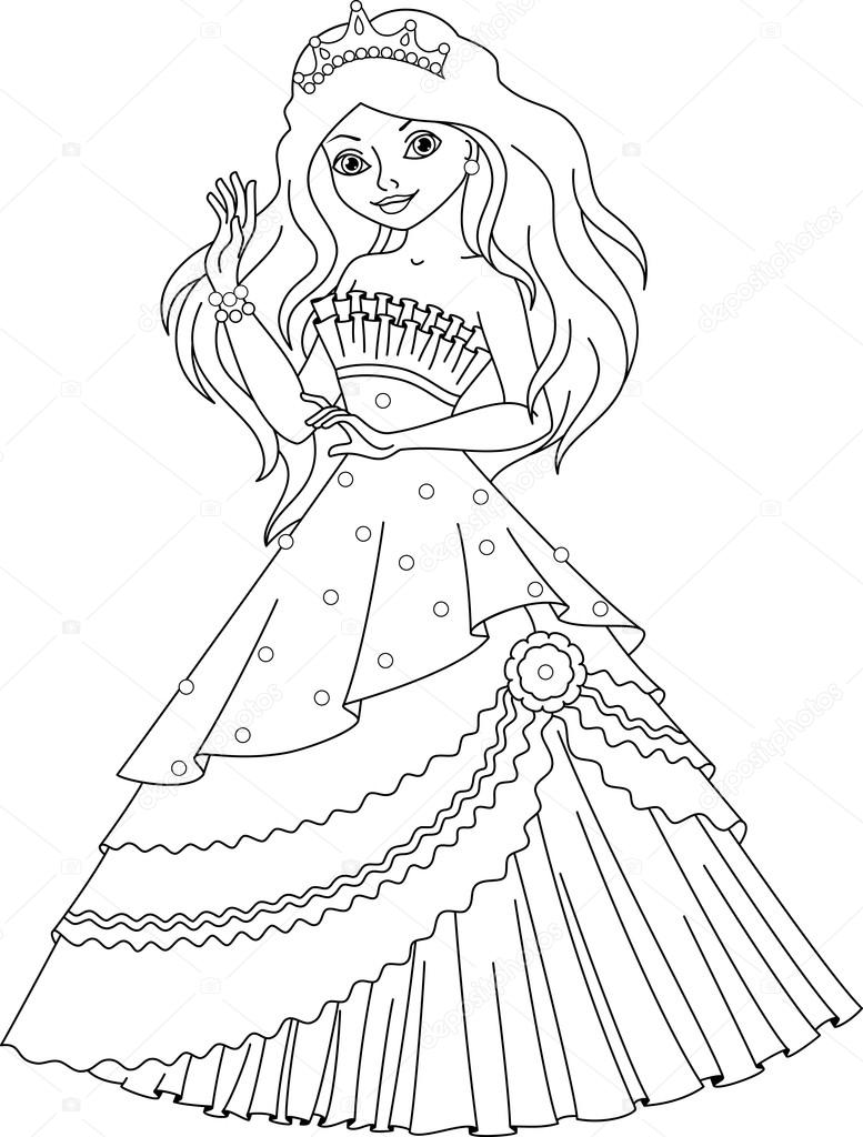 princess mermaid coloring page u2014 stock vector malyaka 106383366