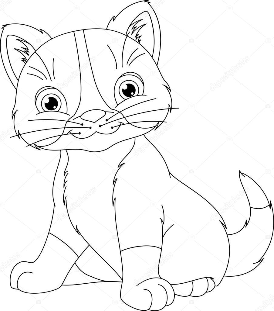 Yavru Kedi Boyama Sayfası Stok Vektör Malyaka 107130546