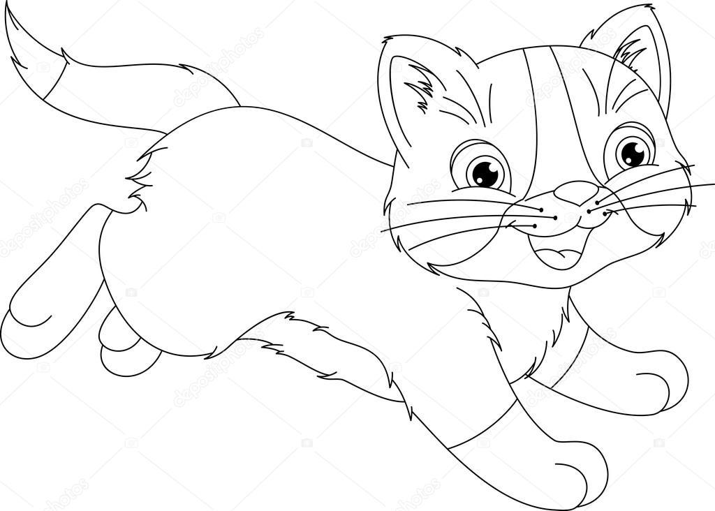 Running Kitten Coloring Page Stock Vector C Malyaka 108530594