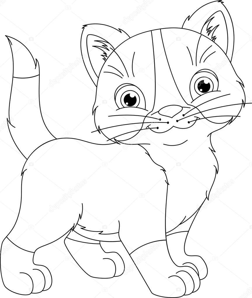 kitten kleurplaat stockvector 169 malyaka 108741562