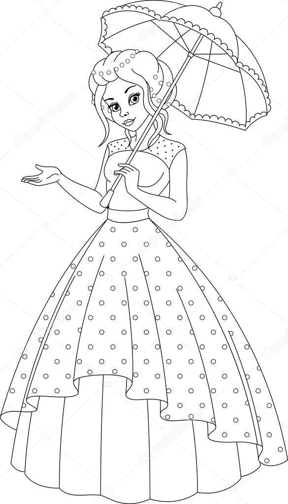 Prenses Boyama Sayfası Stok Vektör Malyaka 112533780