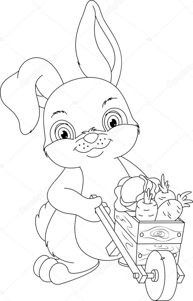 Página para colorear de conejo — Vector de stock © Malyaka #112592172
