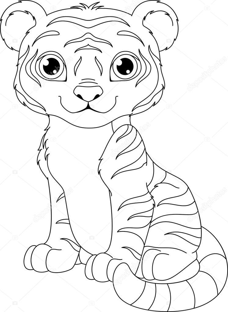 Kleurplaten Baby Tijgers.Tijger Kleurplaat