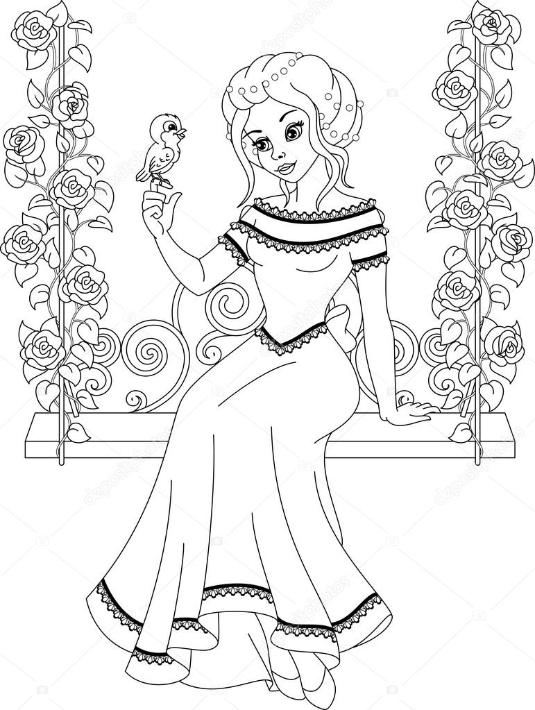 Prenses Boyama Sayfası Stok Vektör Malyaka 121113370