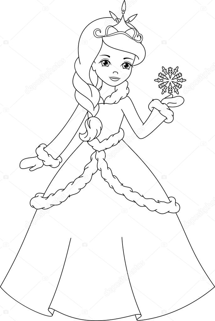 Página para colorear princesa de invierno — Vector de stock ...