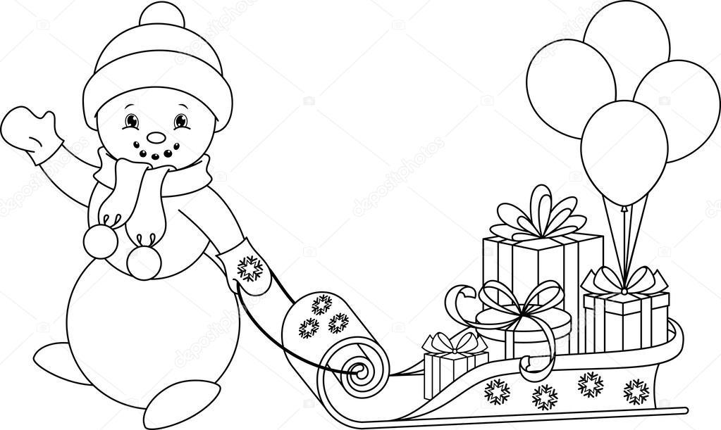 Kardan Adam Boyama Sayfası Stok Vektör Malyaka 54613547