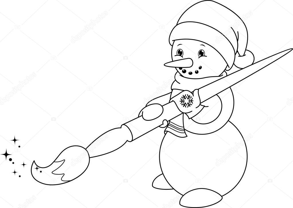 Kardan Adam Boyama Sayfası Stok Vektör Malyaka 54985015