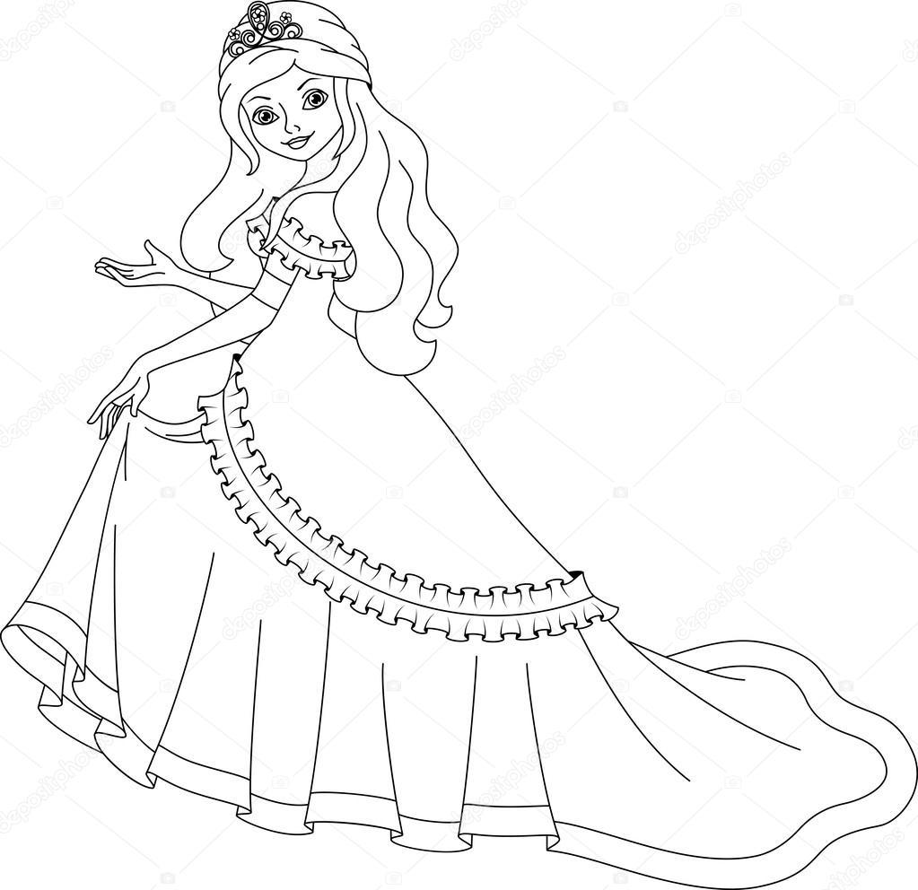 Princess Coloring Page Stock Vector Malyaka 56799779