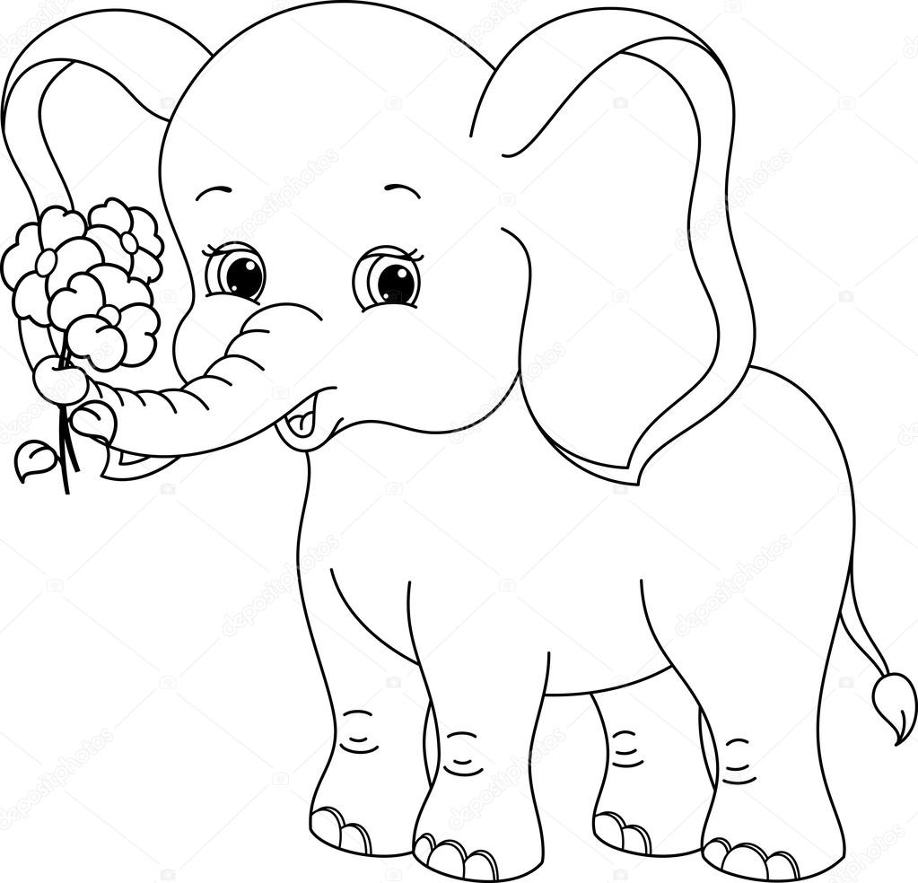 Elephant coloring page — Stock Vector © Malyaka #58006471