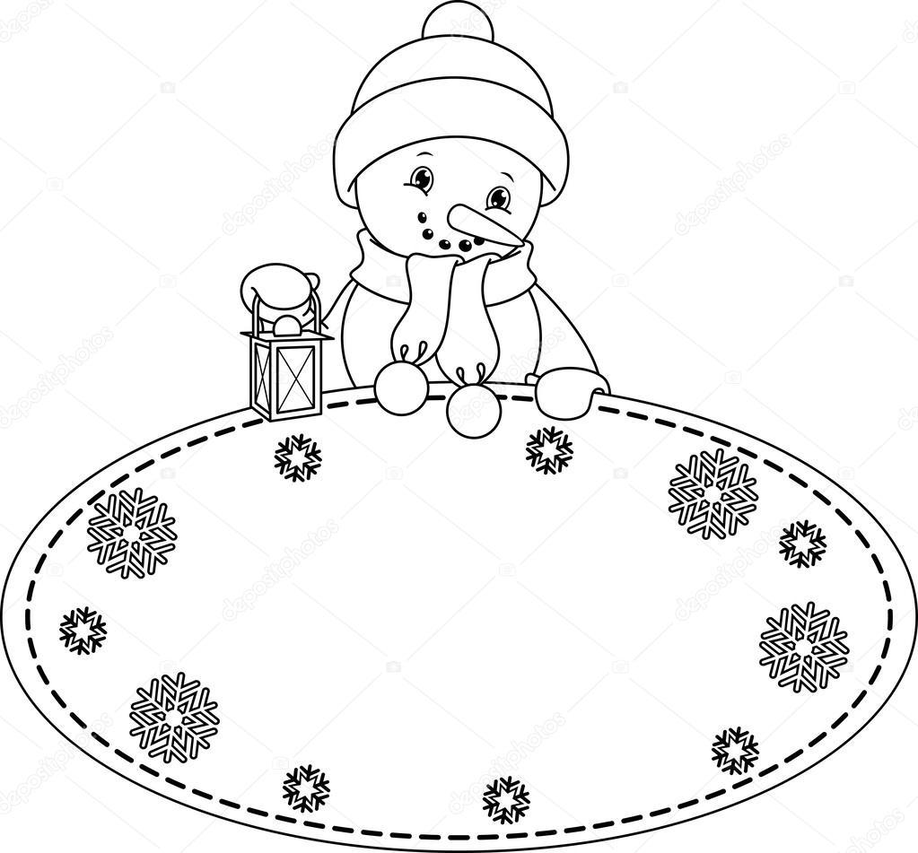 Página para colorear de muñeco de nieve — Vector de stock © Malyaka ...
