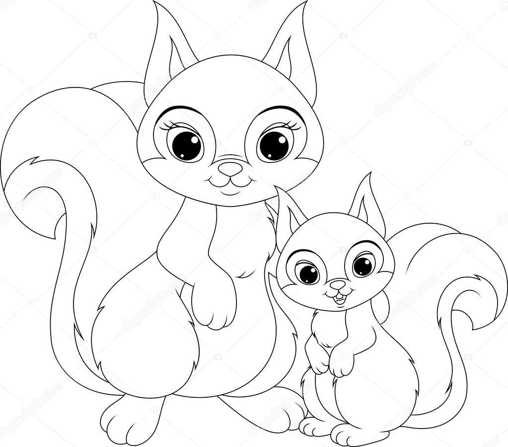 Ardilla y página para colorear de bebé — Vector de stock © Malyaka ...