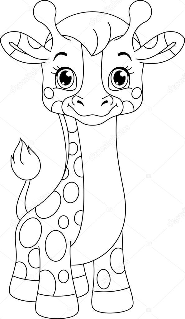 weinig giraf kleurplaat stockvector 169 malyaka 62179519