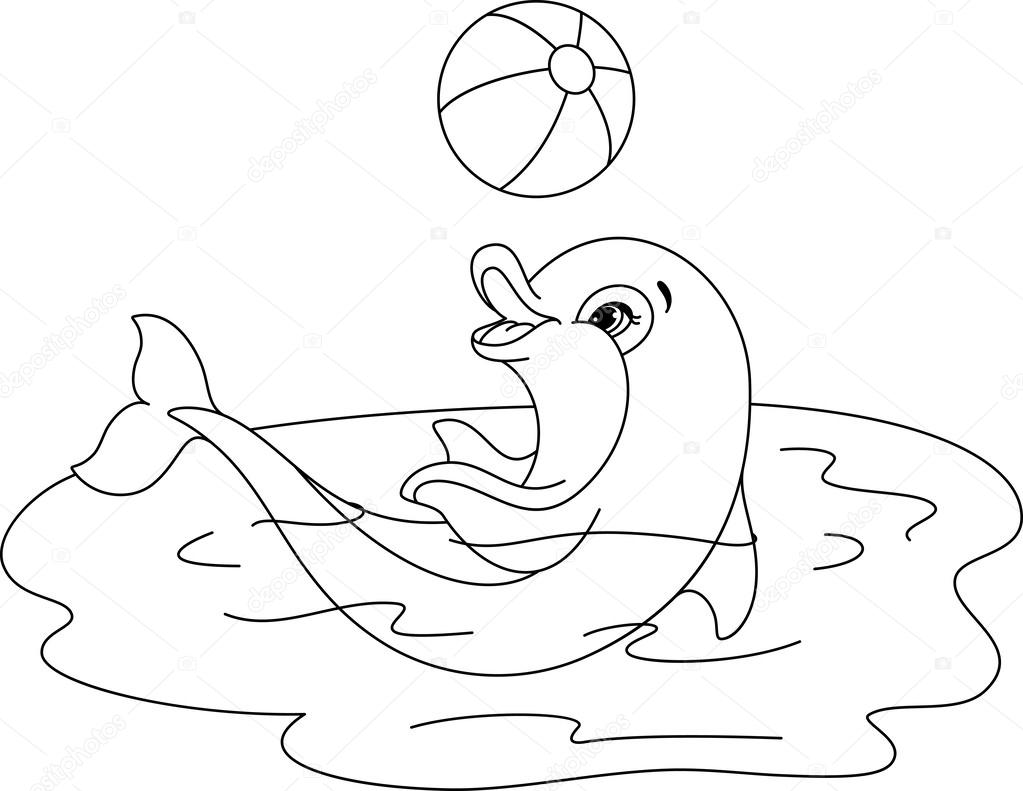 Playful Dolphin coloring page — Stock Vector © Malyaka #62611127