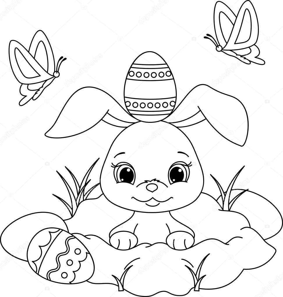 Easter bunny coloring page — Stock Vector © Malyaka #65612161