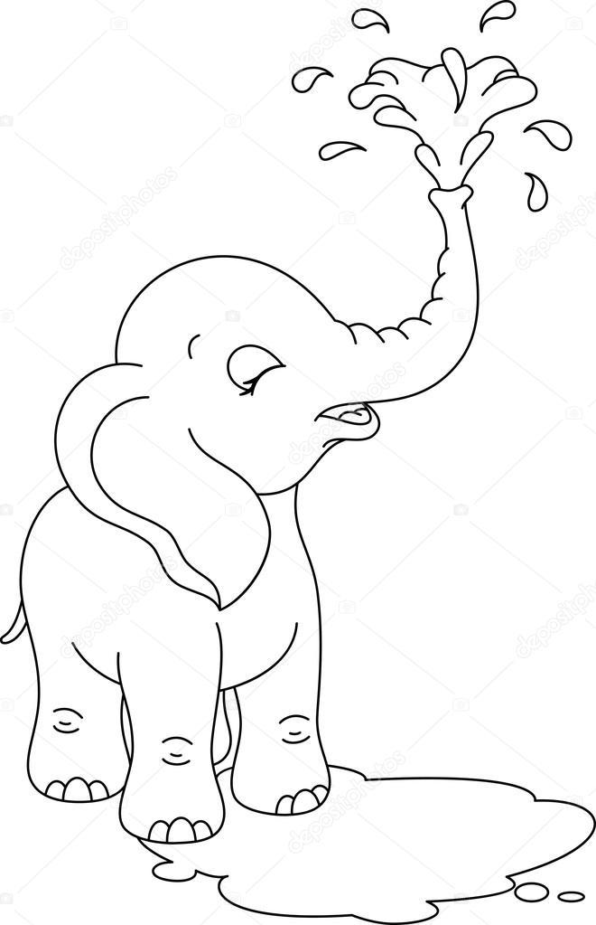 Página para colorear de bebé elefante — Archivo Imágenes Vectoriales ...