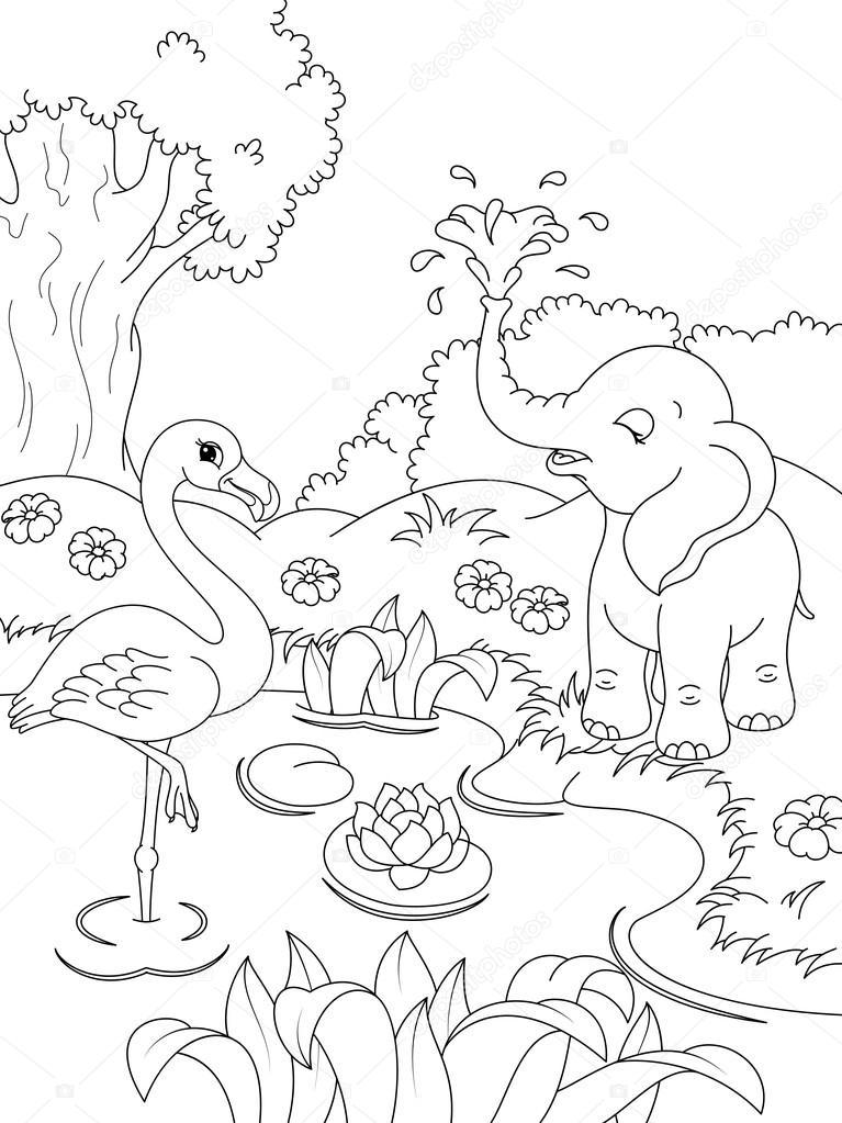 Página para colorear de animales — Vector de stock © Malyaka #68087183