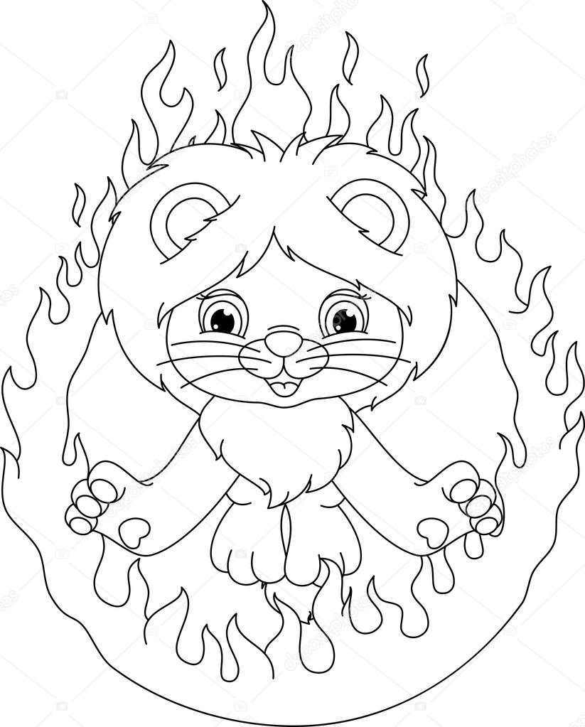 lion and ring of fire coloring page u2014 stock vector malyaka 69611367
