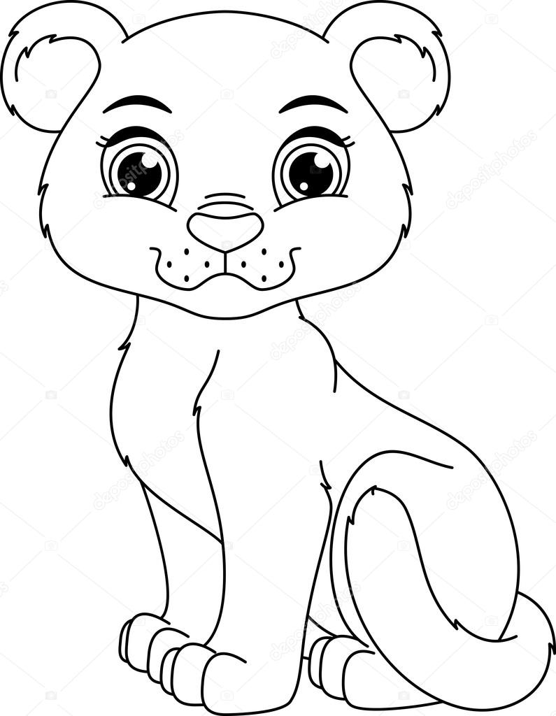cute panther cub cartoon coloring page vector by malyaka - Panther Coloring Pages