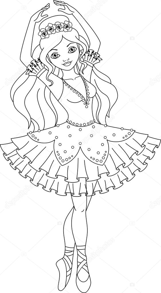 Página para colorear de bailarina — Vector de stock © Malyaka #75102519
