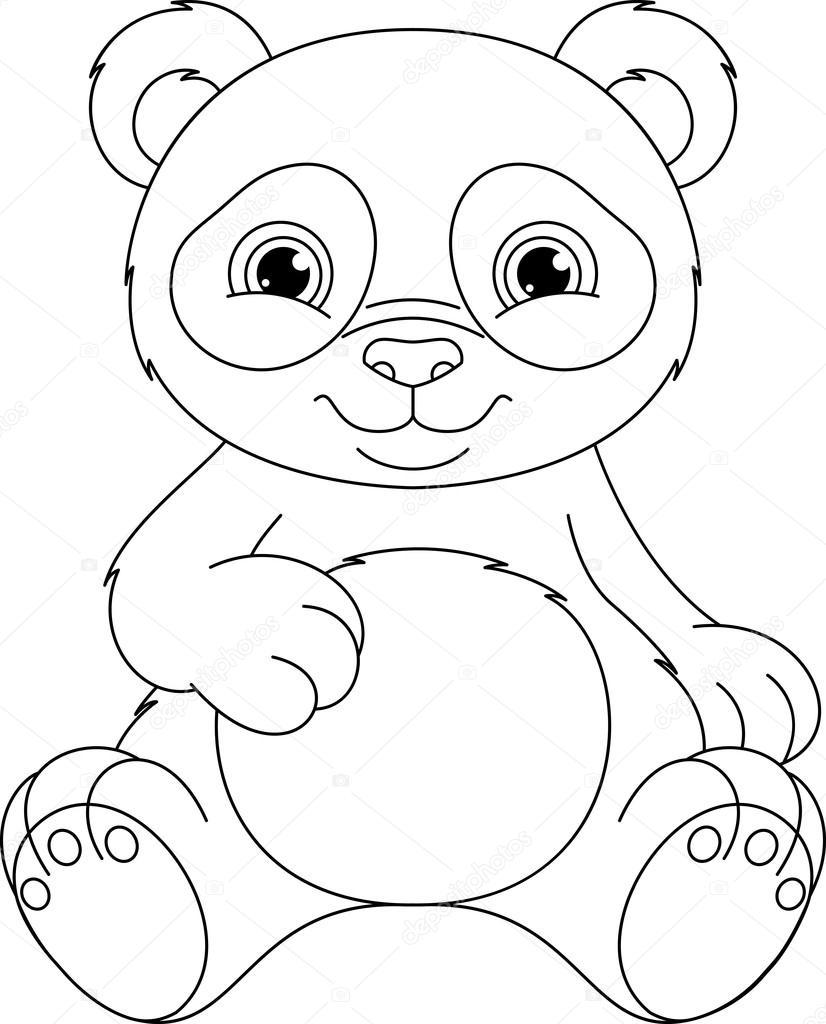 Panda Boyama Sayfası Stok Vektör Malyaka 78422914
