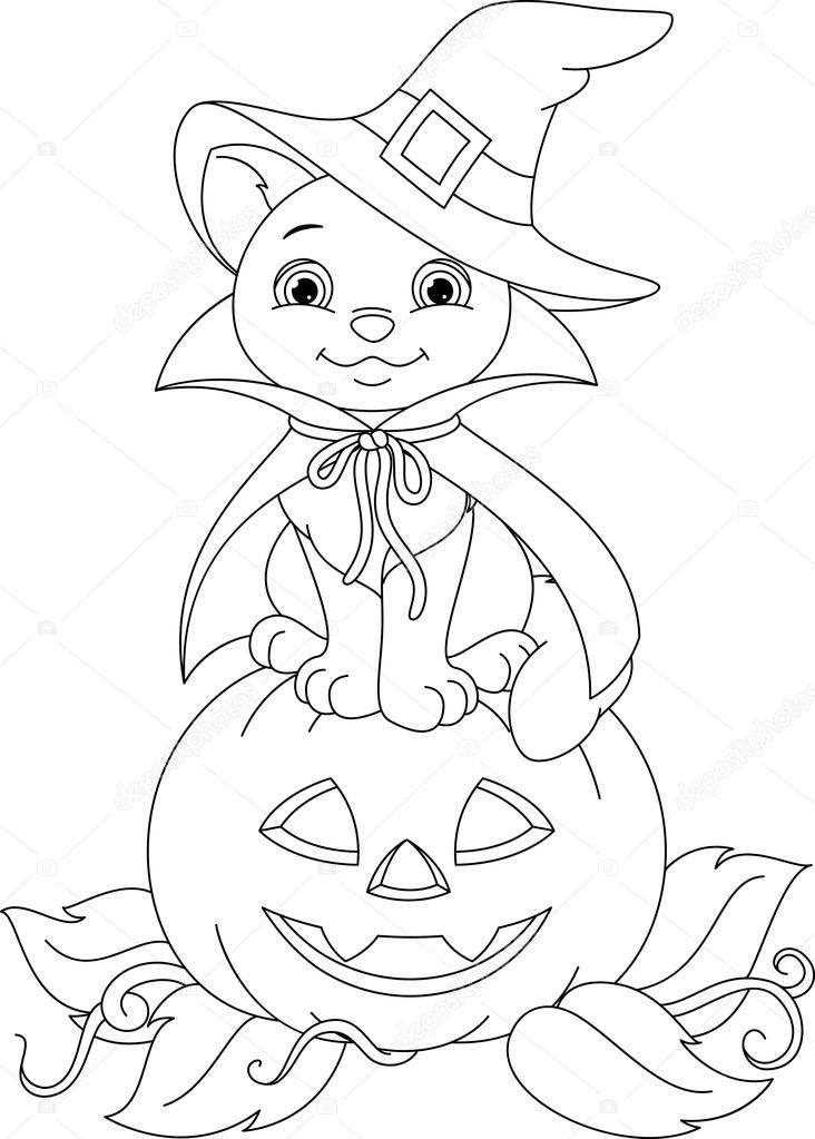 cat in a pumpkin halloween coloring page p 225 de colorir gato vetores de stock 7985
