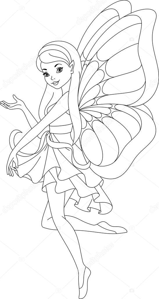 Fairy kleurplaat Stockvector