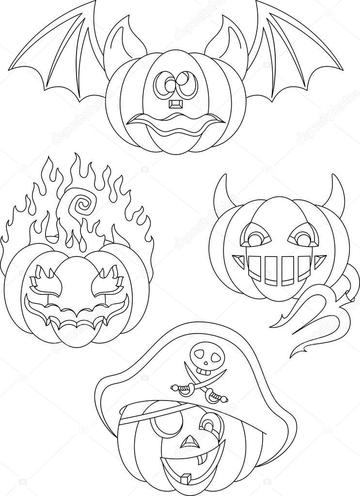 Página de calabazas de Halloween para colorear — Vector de stock ...