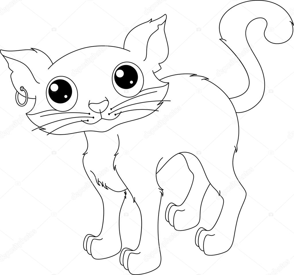 Página para colorear de gato — Archivo Imágenes Vectoriales ...