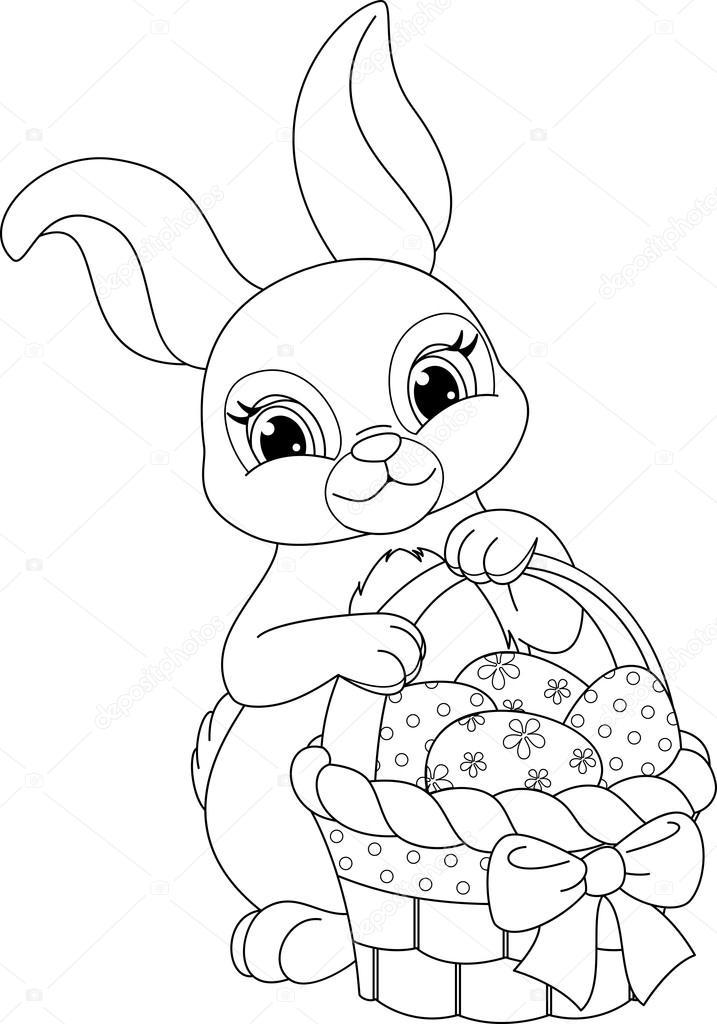 Página para colorear conejo de Pascua — Vector de stock © Malyaka ...