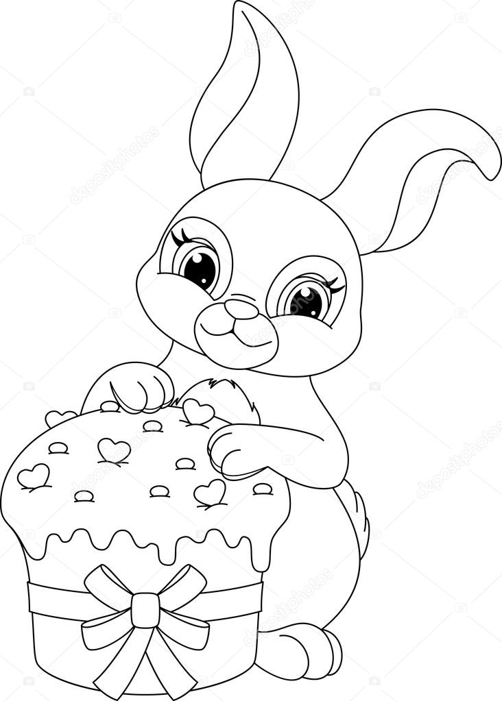Easter Rabbit Coloring Page Stock Vector C Malyaka 96774486