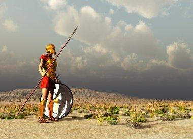 3d illustration of an ancient Greek warrior stock vector