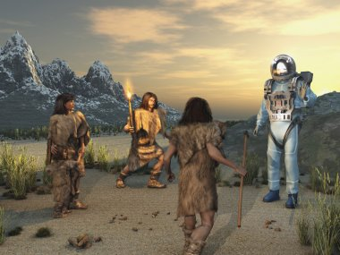 Ancient humans and an alien visitor