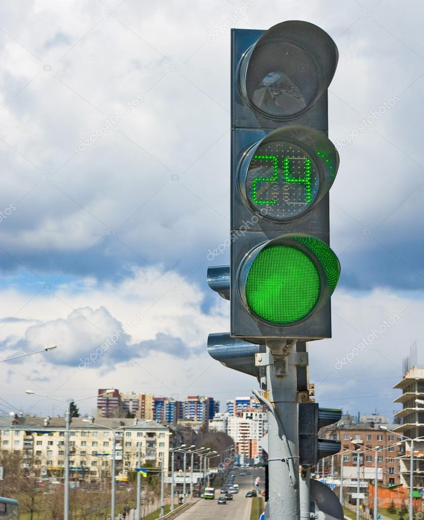 traffic light on the street background