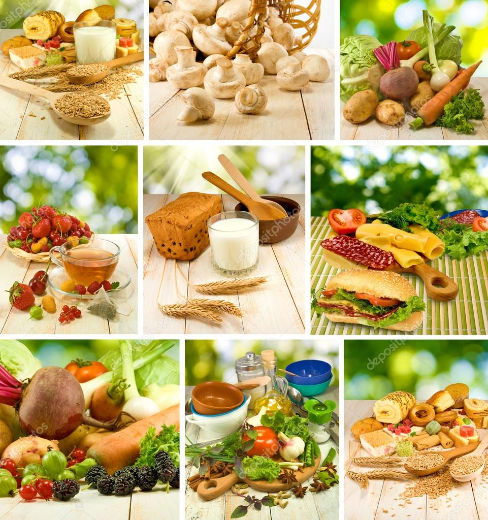 mix of different foods: vegetables, fruits, sandwiches, milk, cake and other ingredients close-up