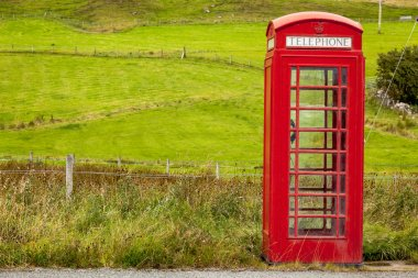 Classical red British phone box