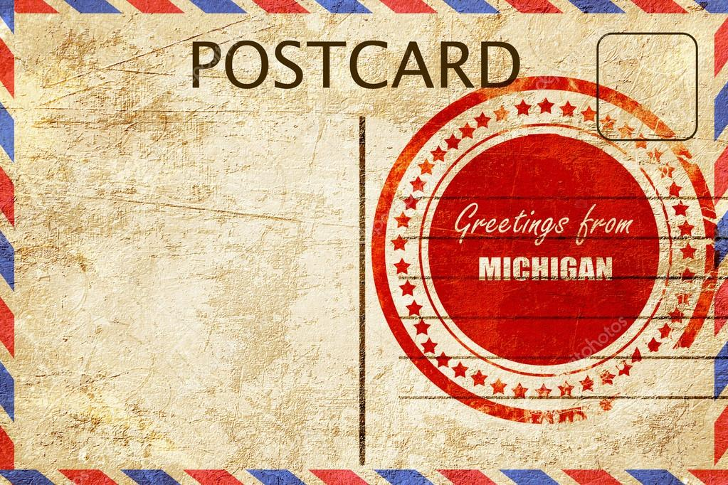 Vintage postcard greetings from michigan stock photo ellandar vintage postcard greetings from michigan stock photo m4hsunfo