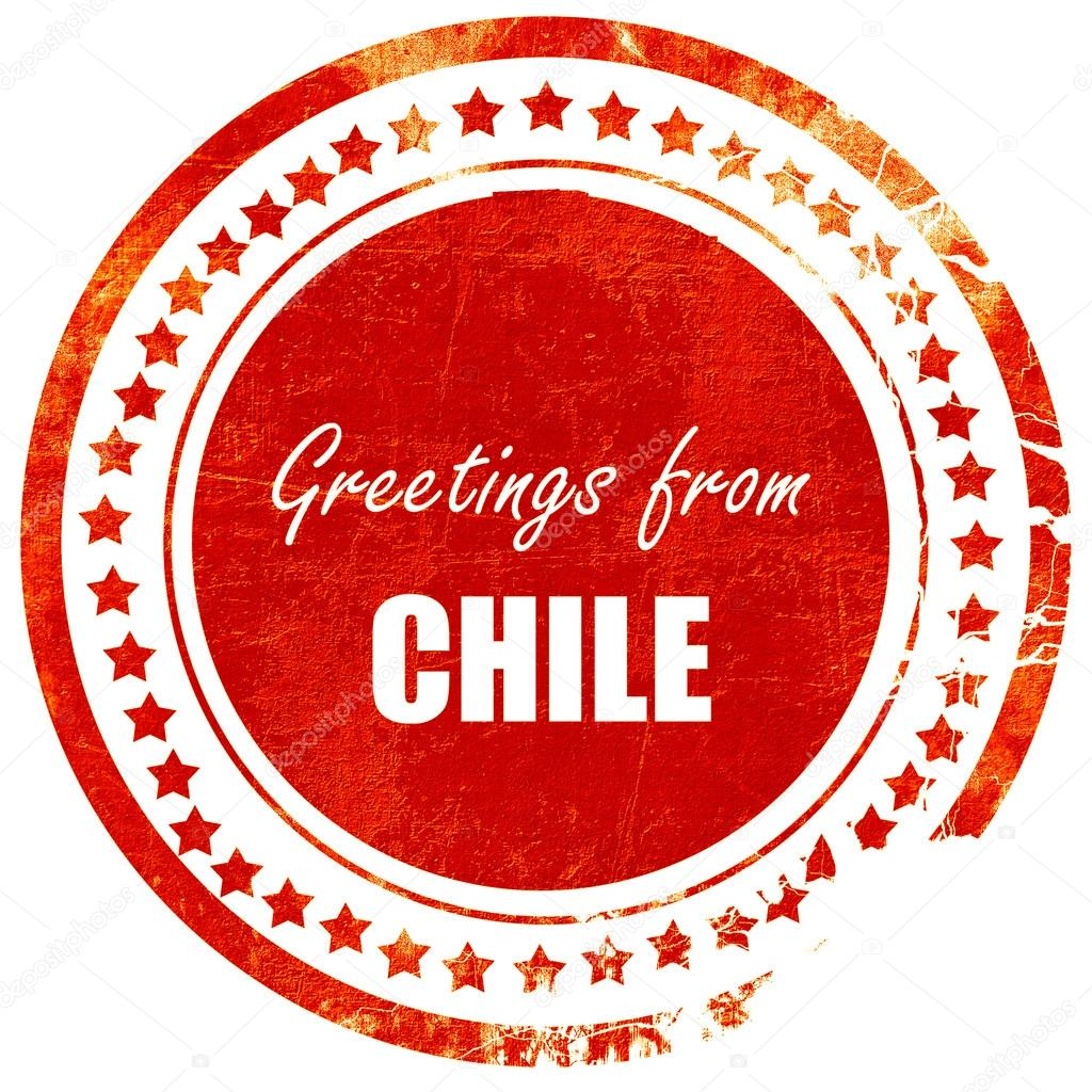 Greetings From Chile Card With Some Soft Highlights Isolated Red Rubber Stamp On A Solid White Background Foto Von