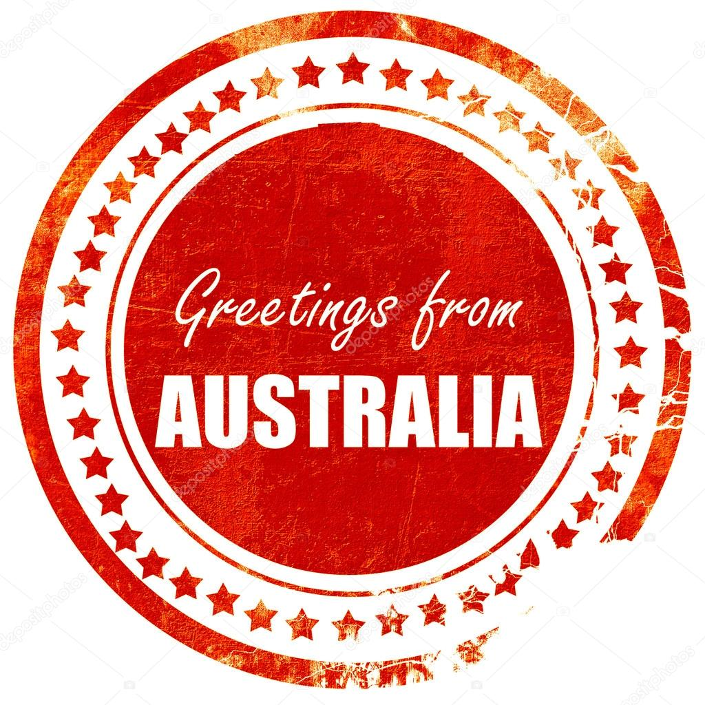 Greetings From Australia Grunge Red Rubber Stamp On A Solid Whi
